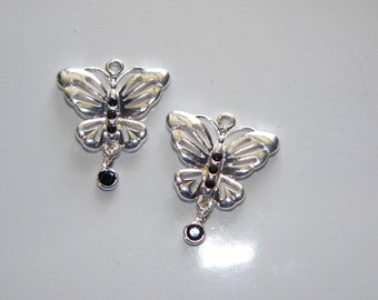 Black Silver Butterfly Charms, Jewelry Supply, Metal Charm, Craft Supply