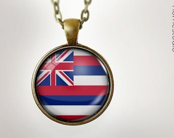 Hawaii State Flag : Glass Dome Necklace gift present by HomeStudio. Round art photo pendant jewelry. Available as Key Ring Keychain