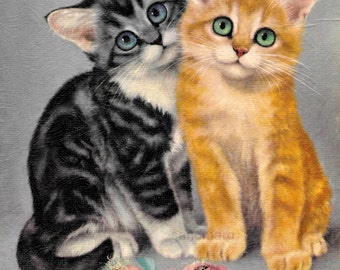 Vintage 1960s Winde Fine Prints Cats by Girard 322 Kittens Faux Oil Painting to Frame