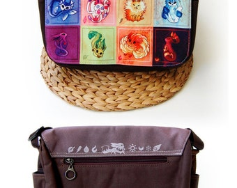 Rainbow Eeveelution and Starter Pokemon, Vaporeon, Sylveon, Umbreon, Eevee, Glaceon, Espeon, Jolteon, Flareon Messenger Bag