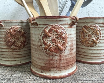 Ceramic Utensil Holder - Vase - Kitchen Storage - Stoneware Pottery - Honey Bee - Mandala Design
