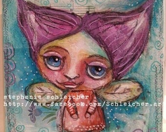Whimsical Fairy 4in x4in Original Painting