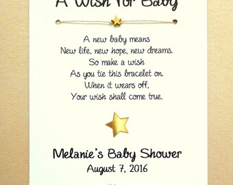 A Wish for Baby - Little Star Theme - Wish Bracelet Party Favor Custom Made for You