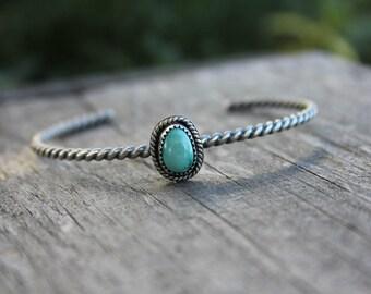 Turquoise cuff - sterling silver cuff - turquoise bracelet - cuff bracelet - ethnic cuff - southwestern cuff - rope cuff - silver bracelet