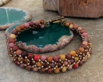 Handstitched Bracelet Semi Precious Multi Stone Brown Mauve Coral Jasper    1.99 Shipping USA
