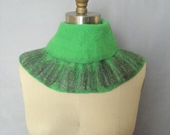 Green Felted Scarf / Wavy Felted Collar / Felted Neckpiece / Fiber Art / OOAK / SALE / Lichens Collection - Lime