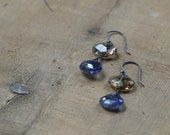 Smoky Quartz and Iolite Teardrop Earrings