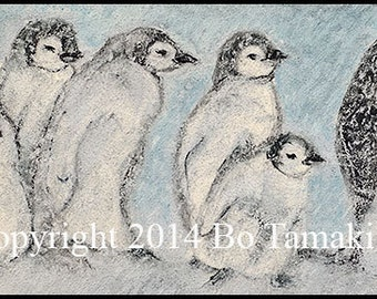 Penguins in a Snowstorm 9 x 4 archival print blank signed card