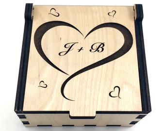 Personalized Heart Jewelry Box, Wood Heart Trinket Box, Valentine's Day, Small Jewelry Case, Laser Cut Box, Jewelry Storage Box, Wood Box