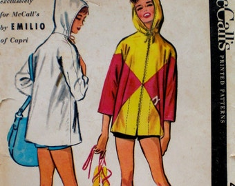 Vintage 1950s Pucci Beach Wear Pattern McCall's 4049 Bust 30 31 Petite Hooded Coat Pattern