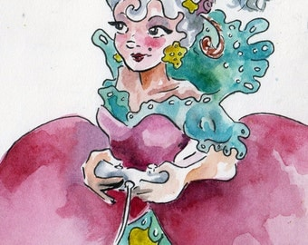 Marie Antoinette Playing Xbox - Funny Little Sketch by Jen Tracy - Watercolor and Ink Cartoon - Woman Playing Video Game