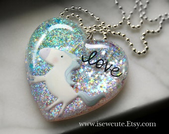 Unicorn Jewelry, Pastel Heart, Love Resin Necklace Pink Aqua Lavender Glitter Pendant Necklace, Fairy Kei, Cute Magical Unicorn by isewcute