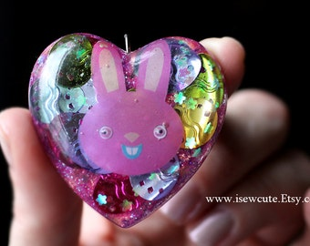 Easter Bunny - Easter Necklace - Handmade Spring Jewelry - Little Girl Necklace with Bunny - Google Eye Rabbit - Cute Easter Egg Resin Heart