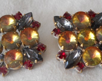 Set of 2 Square Yellow Iridescent & Rhinestone Glass Czech BUTTONS