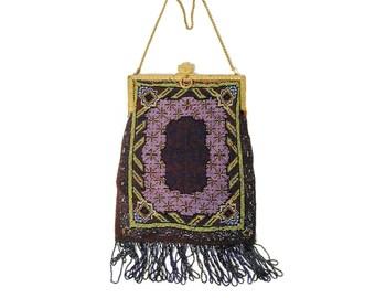 20s Micro Beaded Flapper Purse, Large Deco Beaded Bag, Beaded Purse, Vintage Flapper 1920s Bag, Antique Beaded Bag