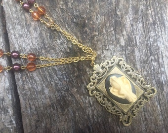 Pendent Multi Strand Necklace Steampunk Tribal Fantasy Gypsy Bat Skull