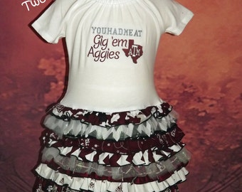 You Had Me At Gig 'Em, Texas ATM, Aggies, Maroon, Ruffle T-Shirt Dress