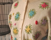 Posies   Vintage 1960s Ivory Cardigan Sweater Crewel Work Floral Long Sleeve Pearlescent Buttons
