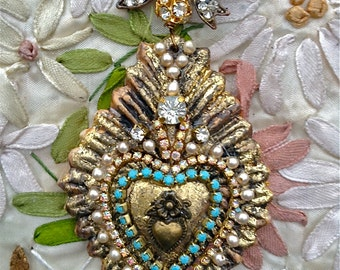 Lilygrace Sacred Heart Statement Necklace with Vintage Rhinestones and Upcyled Vintage Brooch