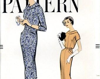 Vogue 9416 1950s Fashion Slim One Piece Dress Buttoned Back Kimono Sleeves Size 14 Uncut Sewing Pattern 1958