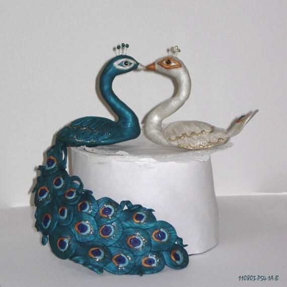 Peacock Wedding Ideas Etsy: Peacock-Peahen Cake Topper In Interracial Theme Made To