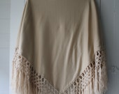 ON HOLD vintage Vera jersey knit wrap with macrame trim