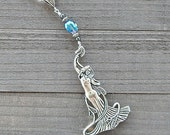 Silver Art Nouveau Goddess Necklace With Oval Faceted Peacock Blue Crystal & Hematite Beads