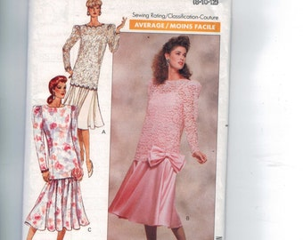 1980s Vintage Sewing Pattern Butterick 3135 Misses and Petite Top and Skirt Formal Bow Size 8 10 12 Bust 31 1/2 32 1/2 34 80s 1989 UNCUT  99