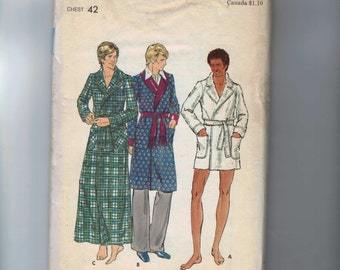 1970s Vintage Sewing Pattern Simplicity 6904 Mens  Bathrobe Smoking Jacket Size 42 Chest 42 1970s UNCUT