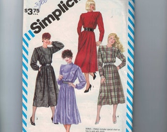 1980s Vintage Sewing Pattern Simplicity 6169 Misses Modest Dress with Shoulder Pleats and Full Skirt Size 12 Bust 34 1983 UNCUT  99