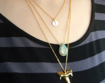 Gold Shark Tooth Layer Necklace- Personalized Gold Tag Jewelry, Bohmeian Beach 3 Layer Turquoise Stamp Initial Necklace, Goldplated Chain