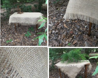 Fringed Burlap Tablecloth Custom Made Burlap Table Scarf Fringed Tablecloth Table Topper Handmade Wedding Table Setting