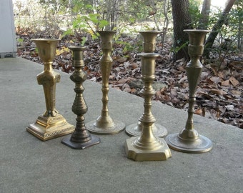 Vintage Brass Candle Holders 6 Brass Candlesticks Wedding Decor Table Settings Rustic Lighting Tall Candleholders French Country Farmhouse
