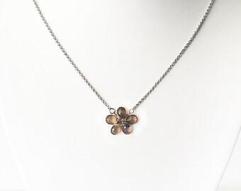 Smoky quartz wirewrapped necklace, flower necklace, teardrop smoky quartz stones, brown flower necklace, stainless steel