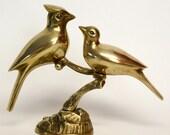 Pair of Brass Birds on Tree Branch