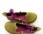 HOLLY fairy shoes, Handmade Leather Woodland Shoes by Fairysteps in Glorious greens, mustard, etc