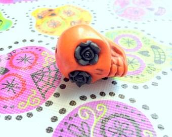 Gigantic Orange Howlite Skull Bead or Pendant  with Black Roses in Eyes
