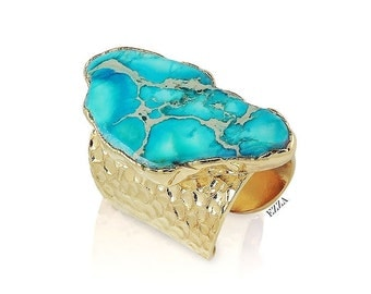Turquoise Stone Ring | Large Turquoise Stone Ring | Large Stone Cocktail Statement Ring | Stone Statement Ring | Turquoise Ring | Gold ring