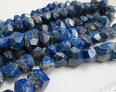 Lapis Beads, Deep Blue Lapis, Chunky Lapis Beads, Center Drill Nuggets, Semi Faceted Nuggets, 16-18mm, Qty 9 - gm456