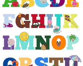 Learn Your Alphabet! Art Print, Kid's Print, Wall Art, Alphabet Primer, Education