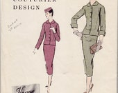 """1950's Vintage Sewing Pattern Vogue 887 Couturier Two Piece Suit 32"""" Bust FF- Free Pattern Grading E-book Included"""