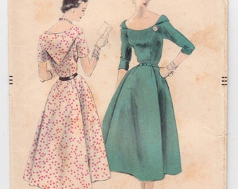 """ORIGINAL Vintage Sewing Pattern 1950's Ladies Dress Vogue 7989 Size 32"""" Bust - Free Pattern Grading E-book Included"""