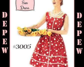 Vintage Sewing Pattern 1950's Ladies' French Sun Dress Print at Home  Depew 3005 -INSTANT DOWNLOAD-