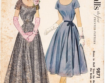 "ORIGINAL Vintage Sewing Pattern 1950's Ladies Evening Gown McCall's 9871 Size 43"" Bust - Free Pattern Grading E-book Included"