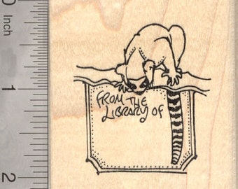 Lemur Library Bookplate Rubber Stamp J10912 Wood Mounted