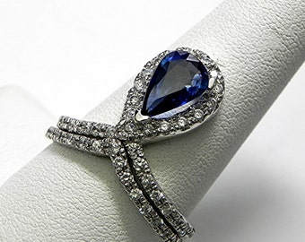 AAAA Blue Sapphire  10x7mm  1.55 Carats Natural Gemstone 14K White gold diamond (.70 Carat TW.) Bridal set. 2366