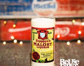Repurposed Malort Candle