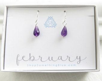 Birthday Gift • Amethyst Earrings • February Birthstone Jewelry • Purple Gemstone • Dark Purple Briolette • Gift For Her • Purple Earrings