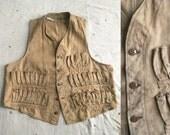 vintage ca. 1950s distressed khaki hunting vest