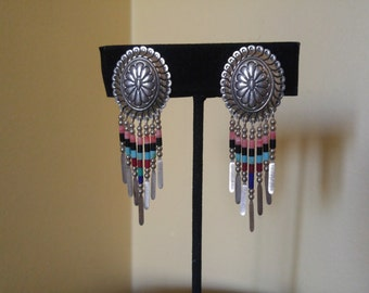 Silver and Beaded Native American Style Concho Earrings